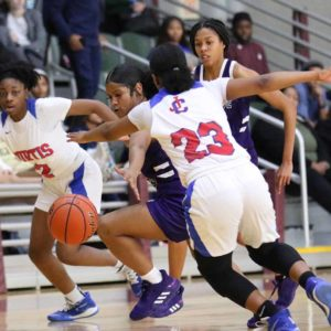 John Curtis and Lagrange face off in the first half of the Allstate Sugar Bowl National Prep Classic Girls Platinum Bracket Championship Game on Saturday, Jan 4, 2020, at the Alario Center in Westwego. (Peter Forest/WGNO-TV)