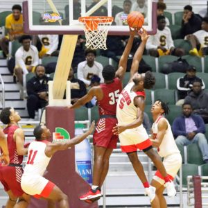 Dunham and Booker T. Washington face off in the first half of the Allstate Sugar Bowl National Prep Classic Boys State Finals Championship Game on Saturday, Jan 4, 2020, at the Alario Center in Westwego. (Peter Forest/WGNO-TV)